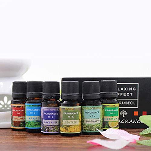 Lurrose Huiles essentielles de parfum de parfum de parfums de parfumerie pour la décoration de mariage, huiles essentielles de bergamote citronnelle et de lavande, huile essentielle de 10ml, 6Pcs