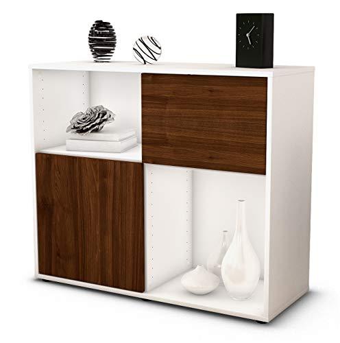 Stil.Zeit Sideboard Carola/Korpus Weiss matt/Front Holz-Design Walnuss (92x79x35cm) Push-to-Open Technik