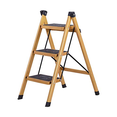 YLQC Step Ladder,Foldable Step Stool with Anti-Slip Platform,Wide Pedal Steel Ladder,Lightweight Mini-Stool at Home Kitchen Bathroom RV,220lbs (100 kg) (Design : 3-Step)