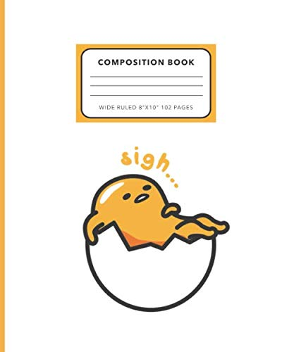 Gudetama Composition Notebook: Practice Book for Kids, Middle, High School Students, Teachers, Homeschooling