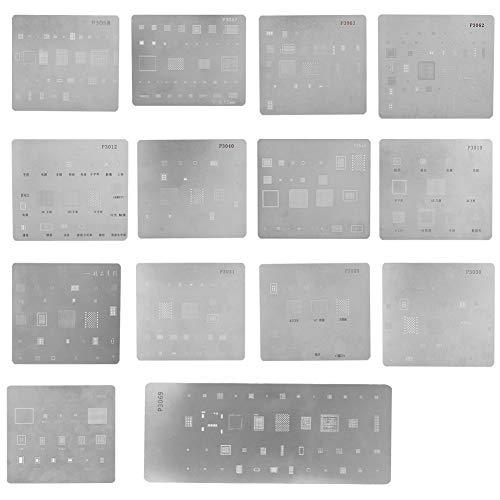Eboxer Set di 14 Pezzi IC Chip BGA Reballing Stencil per X, 8, 8 Plus, 7, 7 Plus, 6s, 6s Plus, 6, 6 Plus, 5s, 5c, 5, 4s, SE