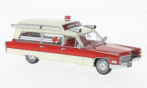 Cadillac S & S Ambulance, rot Weißs, 1966, Modellauto, Fertigmodell, Neo 1 43