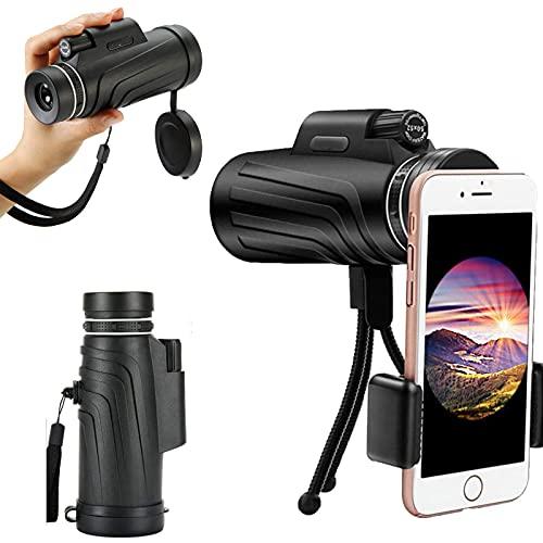 Telescopio Monocular 4k 1 - -300x 40mm para Smartphone Visión Nocturna Binoculares ópticos de Alta Potencia para Adultos con Soporte para teléfono y trípode telescopios para observación de Aves