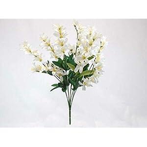 Silk Flower Arrangements Cream Freesia Bush Artificial Flowers Greens Leaves