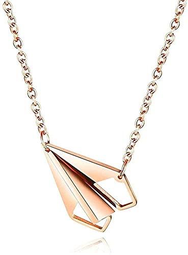 BEISUOSIBYW Co.,Ltd Collar avión avión de Papel Colgante Collar Amantes Acero Inoxidable corazón Collar piloto
