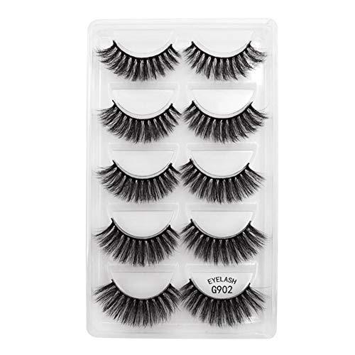 Faux cils Paquet de 5 paires, maquillage pour les yeux Faux cils naturel 3D Faux cils mince Curling Densité Faux Cils Outil de Maquillage