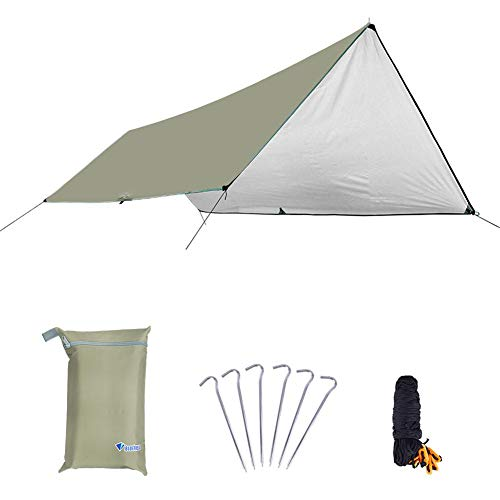 Funnyfeng Camping Tent Waterproof Camping Tarpaulin 210T Mesh Polyester Multifunctional Tent with Anti-SUV Silver Glaze Beach Shelter Base for Camping Picnic Hiking and Feasible Beige 3 * 4 M (s)
