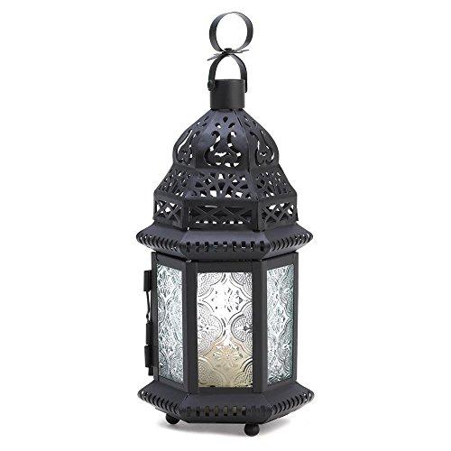 Gifts & Decor Lanterne de jardin suspendue en fer, verre, rouge, 11,4 x 9,5 x 26 cm