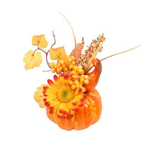 Amosfun 2 stücke Kürbis mit Ahornblätter Zierkürbisse Deko Kürbisse für Halloween Thanksgiving Herbstdeko (Sonne Blume gelb Gebogene Melone)