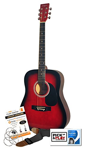 Martin Smith W-600-RD - Guitarra acústica con cuerdas metálicas, color rojo