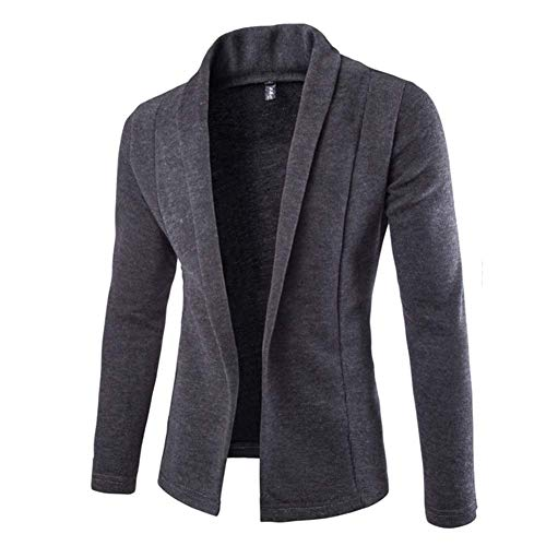 Huaheng Mens Solid Blazer Cardigan Lange Mouw Casual Slim Fit Sweater Jas Gebreide Jas XL DARK GRIJS