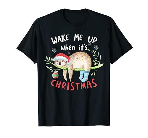 Weck mich auf wenn es Weihnachten ist Süßes Faultier T-Shirt
