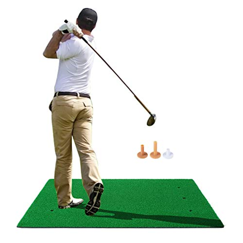 RELILAC Golf Hitting Mats with 3 Rubber Tees - Artificial Turf Mat for Indoor & Outdoor Practice - Choose Your Size