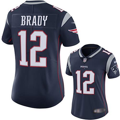 VNECK New England Patriots Rugby Trikot Tom Brady 12# Super Bowl LIII Rugby Jersey für DamenRot-L