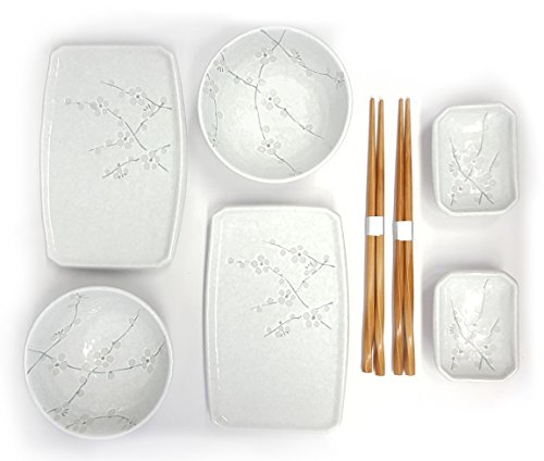 Happy Sales 8 Piece Japanese Cherry Blossom Dinnerware Set, White