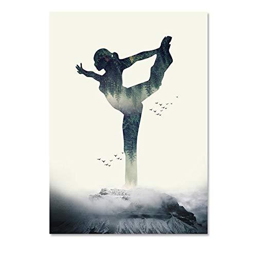 (Geen frame) 60x80CM Woondecoratie Modulaire Foto Canvas Hd Schilderij Sport Yoga Vrouw Poster Wall Art Nordic Prints Eenvoudige Stijl Voor Woonkamer