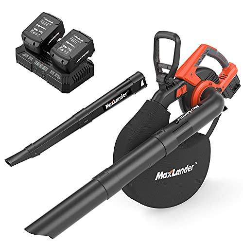 MAXLANDER 2 in 1 Cordless Leaf Blower & Vacuum Cleaner with Bag, 40V 170MPH 330CFM Electric Handheld Sweeper with 2 x 4.0Ah Battery & Charger, 12 Amp, 45L Stroage Bag, Low Noise