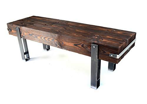 CHYRKA® Bank Sitzbank Massiv-Holz Brody Loft Vintage Bar Industrie Design Handmade Holz Metall (28 cm x 80 cm h=45 cm)