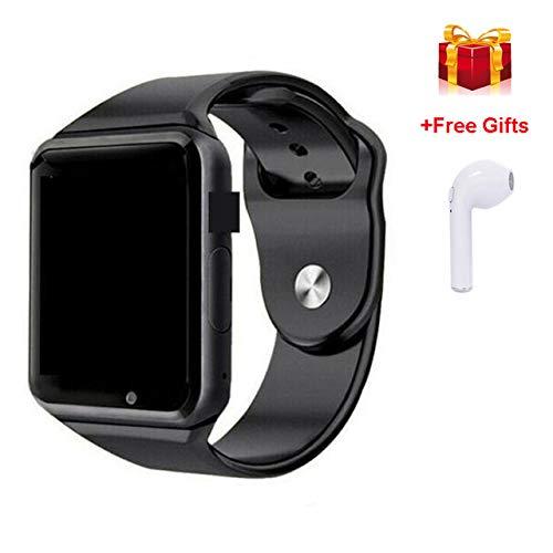 Bluetooth Smart Watch und Sport-Armbanduhr unterstützen 2G SIM TF Kamera Smart Watch,All Black mit Earph