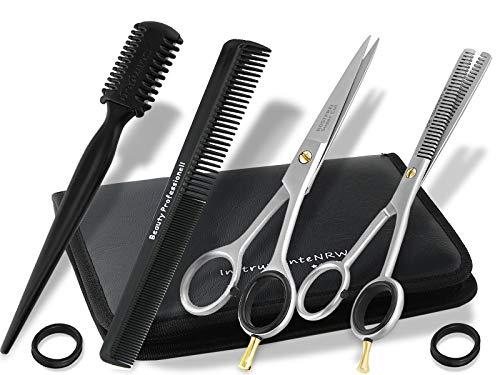 Friseurscheren-Set im Etui 5 Teilig | Effilierer Solingen |Haar-Kamm | Haarschere | Effilierschere 15cm