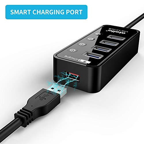 atolla USB Hub mit Netzteil, USB 3.0 Hub Aktiv mit 4 Ports SuperSpeed Datenhub mit Schalter und 1 Intelligenter Charging Port und 15W(5V/3A) Netzteil Adapter