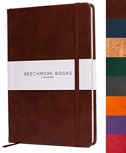Beechmore Books: Taccuino A5, copertina morbida, carta spessa color crema (120 gsm) - A Righe, Marrone