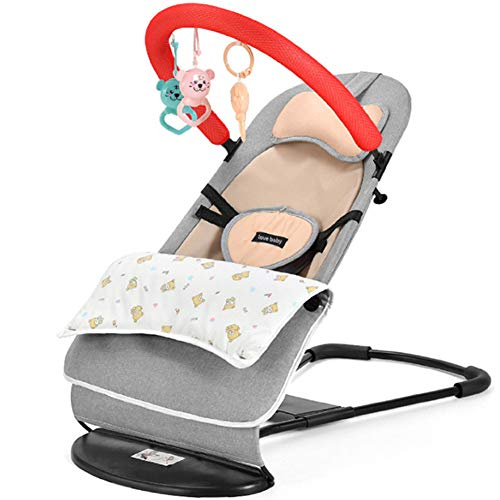 RSTJ-Sjef Foldable Fabric Seat for Bouncer, Adjustable Angle Flax Cradles Chair for 0 To 2 Years Old Baby,D