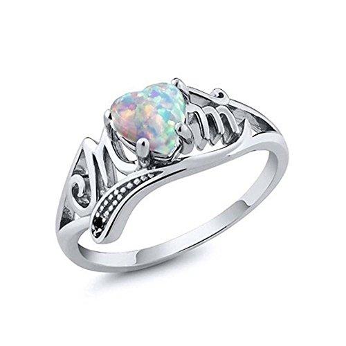 Nongkhai shop 925 Sterling Silver Fire Opal Heart Mom Women Rings Wedding Engagement 2018 (9)