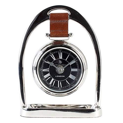 Eichholtz - Tischuhr, Uhr - Baxter - Metall, Leder - im Steigbügeldesign - Maße (LxBxH): 13,5 x 4,5 x 18,5 cm