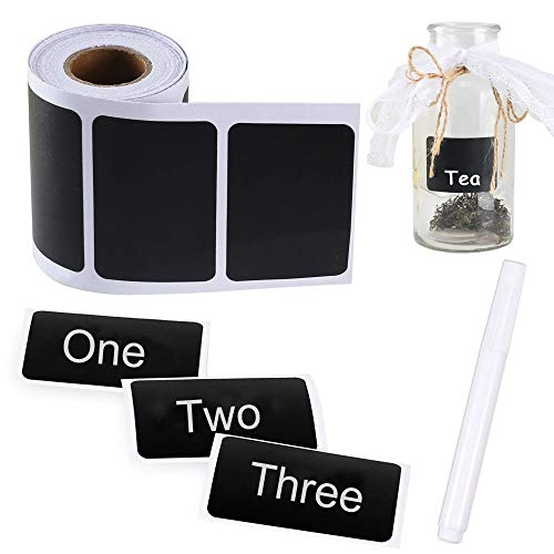 Pulluo 150 pcs Etiquetas Negras Pegatinas de Pizarra Etiquetas Adhesivas de Pegatina con Pluma Blanca Etiqueta de Cocina Decorado en Hogar Oficina Tanques de Aceite Latas Selladas