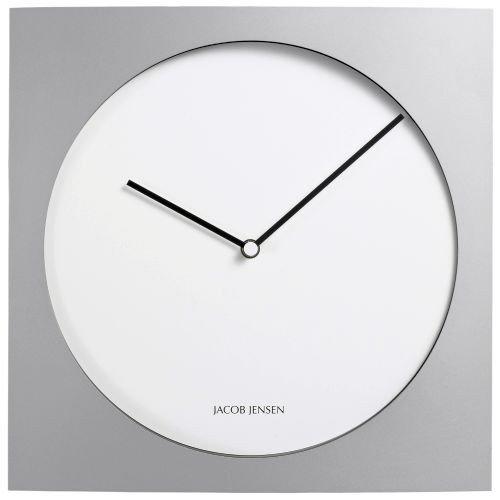 Jacob Jensen - Wanduhr, Uhr - Farbe: Silber/Weiß - Aluminium - 35 x 35 cm - Zeitloses dänisches Design