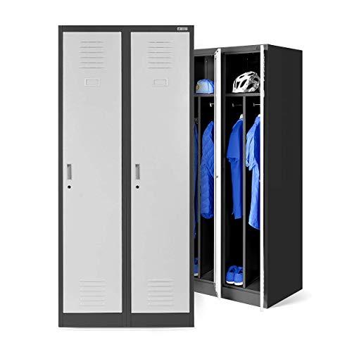 Vestiaire metallique 2B1A casier vestiaire 2 compartiments cloison Revêtement en poudre 180 cm x 80 cm x 50 cm (anthracite/blanc)