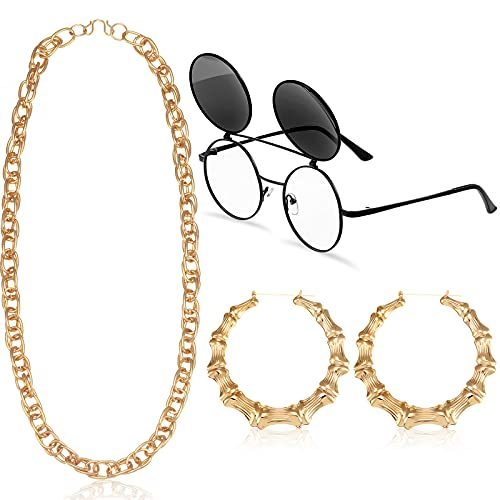 3 Piezas Kit de Disfraces de Años 80 o 90 Gafas Redondas Abatibles Retro Cadena de Cuerda de Oro Falso Aretes Accesorio de Estilo de Moda Bisutería de Rapero para Hombre y Mujer