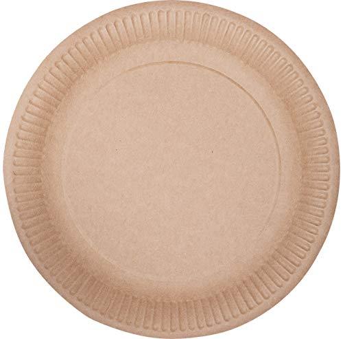 ECOCLEO Eco Platos desechables | Redondo 18 cm | Juego de platos 50 piezas | Color kraft| Carton para alimentos | Plato estable | Biodegradable y reciclable. (Redondo 18 cm, Kraft)