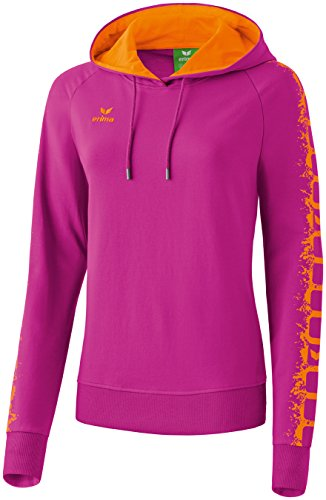 erima Damen Sweatshirt Graffic 5-C Hoodie, Magenta/Orange, 42