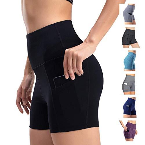 Leggings de yoga para mujer, talle alto, bolsillos para efecto faja, pantalones de entrenamiento, pantalones informales, Mujer, Pantaloni cropped, negro, small