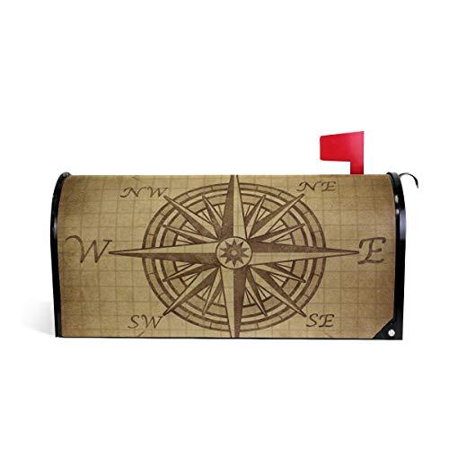 DOSHINE Vintage Kompass Rose Marine Navigation Briefkasten-Abdeckung magnetisch Briefkasten-Umschlag Briefkasten-Abdeckung Übergröße 64,5 x 53 cm Home Decor