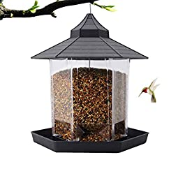 LFDHSF Bird Feeder, Outdoor Hanging Plastic Bird Feeder, Transparent Bird Food Dispenser, Waterproof Bird Food Container, Pet Supplies