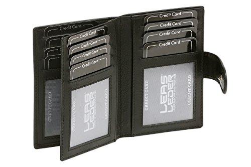 LEAS Kreditkartenmappe mit RFID Schutz Echt-Leder, schwarz Card-Collection