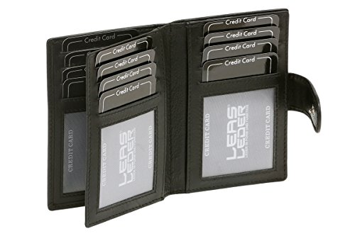 LEAS Tarjetero para tarjetas de crédito con RFID protezione, Piel auténtica, negro Card-Collection''