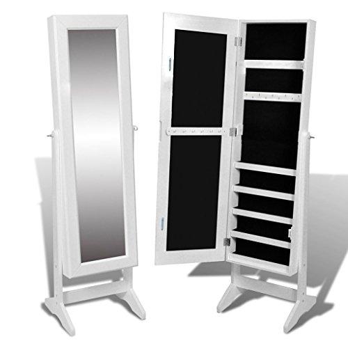 Festnight Guardajoyas Joyero de Pie con Espejo de Águlo Ajustable con Patas Color Blanco 40 x 36 x 146 cm, Armario-Espejo Armario para Joyas