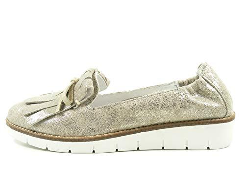 SPM 61516607 Monaco Schuhe Damen Halbschuhe Plateau Slipper Mokassins, Größe:40 EU, Farbe:Beige