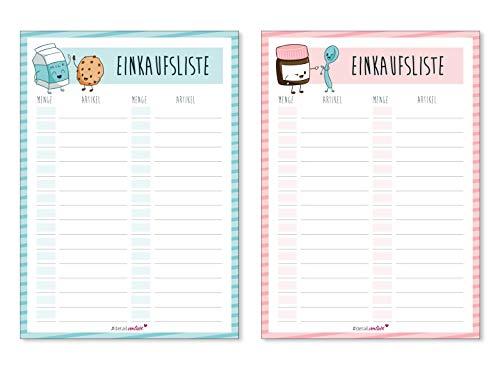 2 Notizblöcke Einkaufsliste I DIN A6 50 Blatt I Einkaufsblöcke Set für die Küche Handtasche Auto I Organizer aus Papier zum Abreißen I dv_142