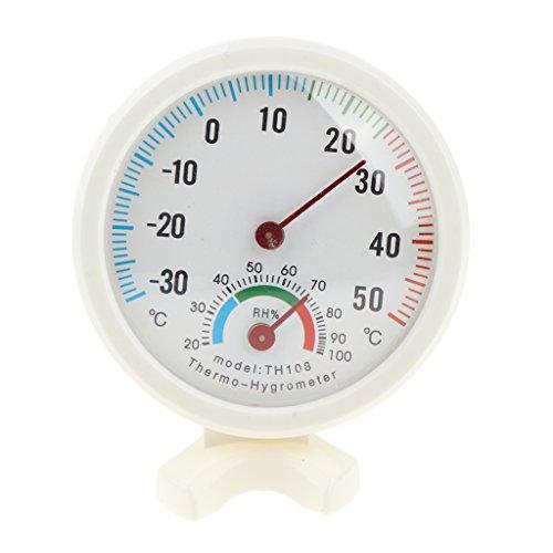 MagiDeal analoges Mini-Thermo-Hygrometer, für den Innenbereich, rund, analoger Temperatur- und Luftfeuchtigkeitsmesser
