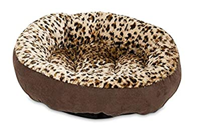 a cheetah print round cat bed by aspen pet