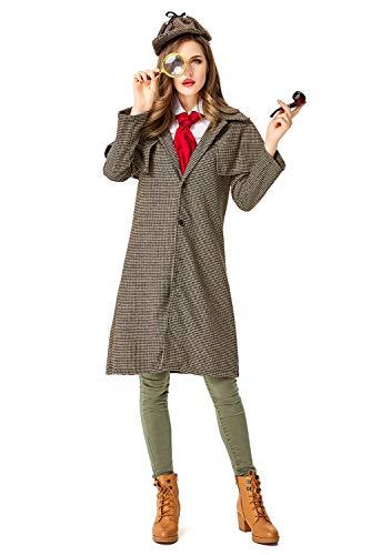 Sherlock Holmes Kostüm für Erwachsene,Detektiv Kostüm Damen Detektivkostüm Dedektivkostüm Mantel + Detektiv-Mütze M