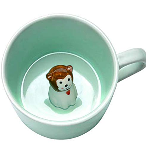 Baby Monkey - 3D Ceramic Mug Cute Cartoon Animal Inside Cool Novelty Coffee Mugs Tea Cup - 8 OZ