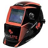helviLITE 21905116 Maschera Saldatura con Auto oscuramento Fast Dark-2 sensori, Nero/Rosso