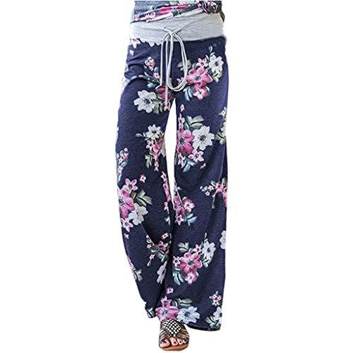 Taurner Verano Pantalón Ancho de Ocio Mujer Pantalones Pierna Ancha Pantalones de Floral Print Pantalon de Yoga Suelto (Azul, XL)
