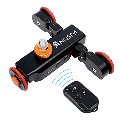 ANNSM Upgraded 3-Wheels Heavy Duty Metal Wireless Motorized Camera Dolly for DSLR Cameras Camcorders iPhone Gopro or Smart Phones with Direction Scales on Two Bending Wheels Side Metal Black Color
